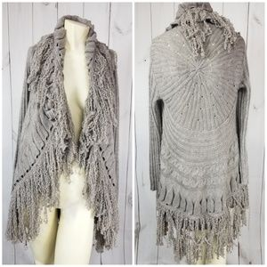 Womens Sioni Studio Knit Fringe Tan Cardigan